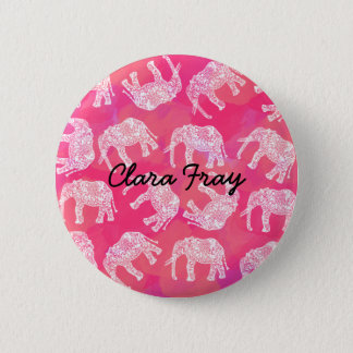 girly pink colorful tribal floral elephant pattern 6 cm round badge