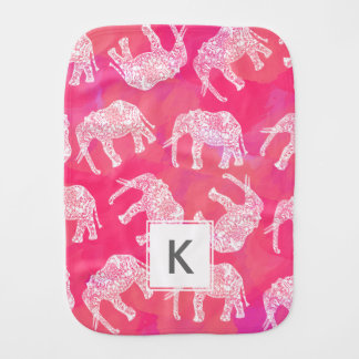 girly pink colorful tribal floral elephant pattern burp cloth