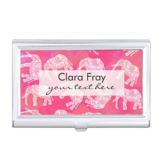 girly pink colorful tribal floral elephant pattern business card cases