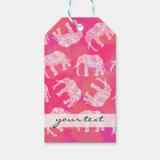 girly pink colorful tribal floral elephant pattern gift tags