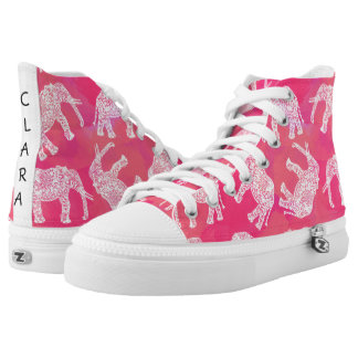 girly pink colorful tribal floral elephant pattern high tops