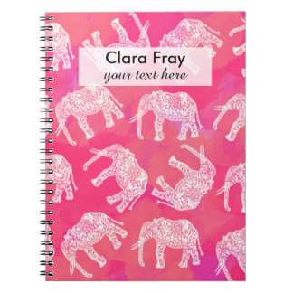 girly pink colorful tribal floral elephant pattern notebook