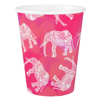 girly pink colorful tribal floral elephant pattern paper cup