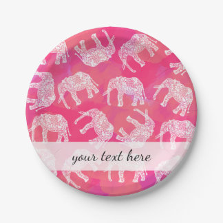 girly pink colorful tribal floral elephant pattern paper plate