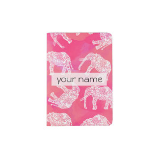 girly pink colorful tribal floral elephant pattern passport holder