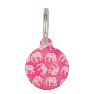 girly pink colorful tribal floral elephant pattern pet ID tag