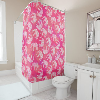girly pink colorful tribal floral elephant pattern shower curtain