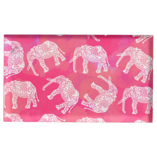 girly pink colorful tribal floral elephant pattern table card holder