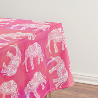 girly pink colorful tribal floral elephant pattern tablecloth