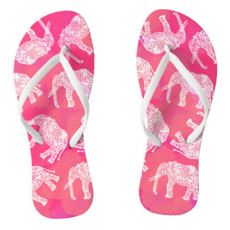 girly pink colorful tribal floral elephant pattern thongs