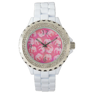 girly pink colorful tribal floral elephant pattern wrist watch