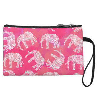 girly pink colorful tribal floral elephant pattern wristlets