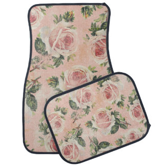 Girly Pink Cottage Chic Roses Car Mat