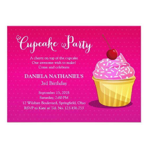 Girly Pink Cupcake Party Custom Invitations