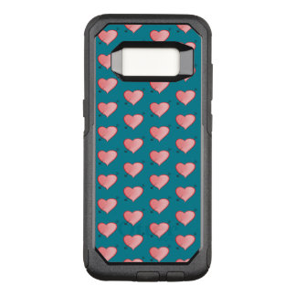 Girly Pink Cute Hearts Pattern Cartoon Turquoise OtterBox Commuter Samsung Galaxy S8 Case