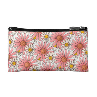 Girly Pink Daisies and White Daisies Cosmetic Bag