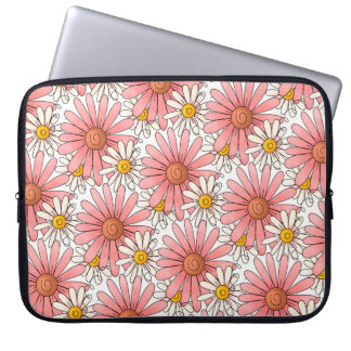 Girly Pink Daisies and White Daisies Laptop Sleeve