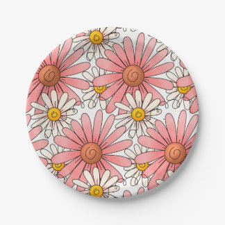 Girly Pink Daisies and White Daisies Paper Plate