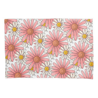 Girly Pink Daisies and White Daisies Pillowcase
