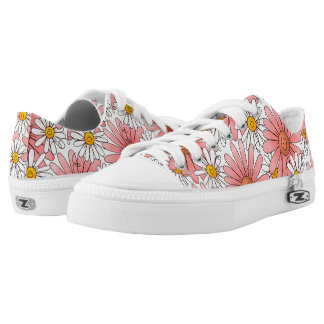Girly Pink Daisies and White Daisies Printed Shoes