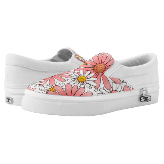 Girly Pink Daisies and White Daisies Slip-On Shoes