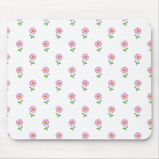 Girly Pink Daisies on White Background Pattern Mouse Pad