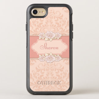 Girly Pink Damask Floral OtterBox Symmetry iPhone 8/7 Case