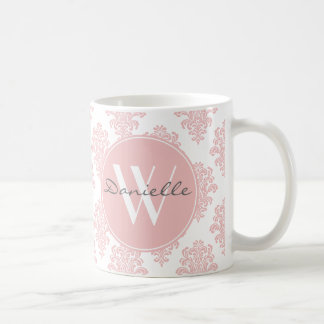 Girly Pink Damask Monogram Coffee Mug