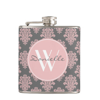 Girly Pink Damask Monogram Hip Flask