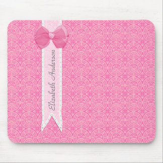 Girly Pink Damask Pattern Cute Bow With Name Mouse Pad
