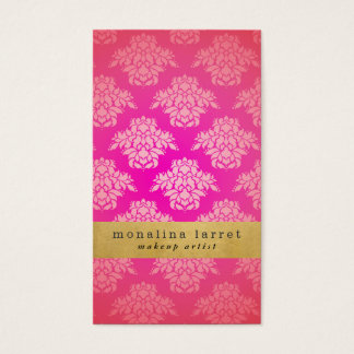 Girly Pink Damask Pattern Faux Gold Foil Elegant Business Card