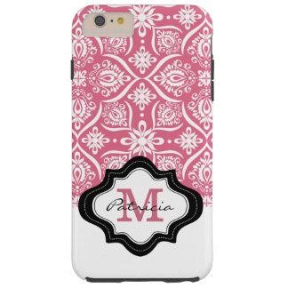 Girly Pink Damask Pattern  Monogram  Name Tough iPhone 6 Plus Case