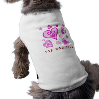 Girly PINK Doodle Hearts A05 Sleeveless Dog Shirt
