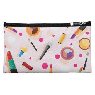 Girly pink dots makeup set medium cosmetic bag
