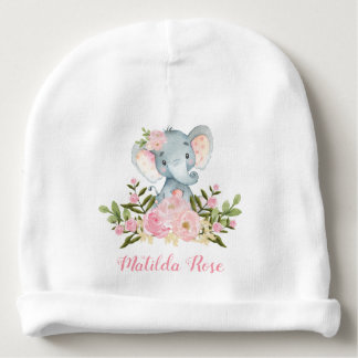 Girly Pink Floral Elephant Baby Beanie