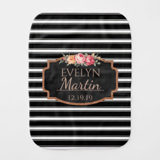 Girly Pink Floral Monogram | Black White Stripes Burp Cloth