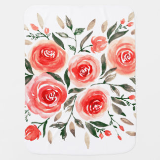 Girly Pink Floral Watercolor Roses Baby Blanket
