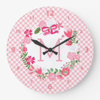 Girly Pink Floral Wreath Personalized Monogram Large Clock