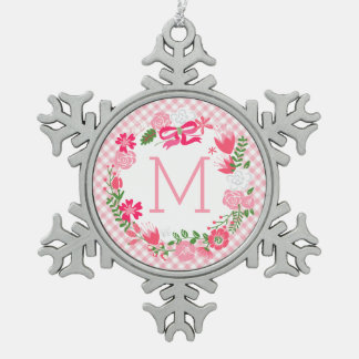 Girly Pink Floral Wreath Personalized Monogram Pewter Snowflake Decoration