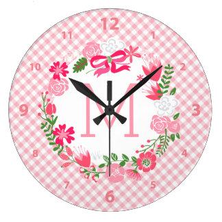 Girly Pink Floral Wreath Personalized Monogram Wallclocks
