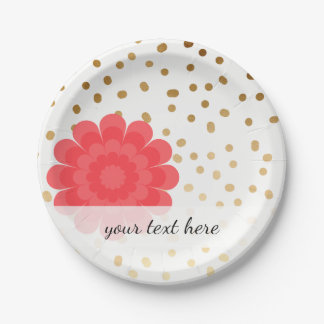 girly pink flower gold foil polka dots pattern 7 inch paper plate