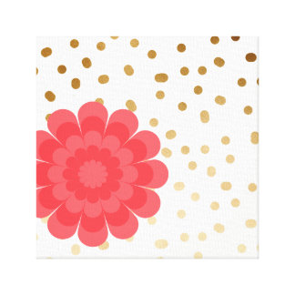 girly pink flower gold foil polka dots pattern canvas print