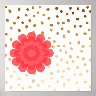 girly pink flower gold foil polka dots pattern poster