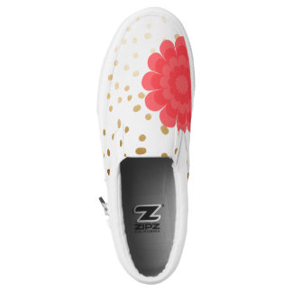 girly pink flower gold foil polka dots pattern printed shoes