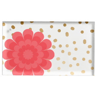 girly pink flower gold foil polka dots pattern table card holders