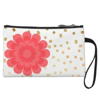 girly pink flower gold foil polka dots pattern wristlet