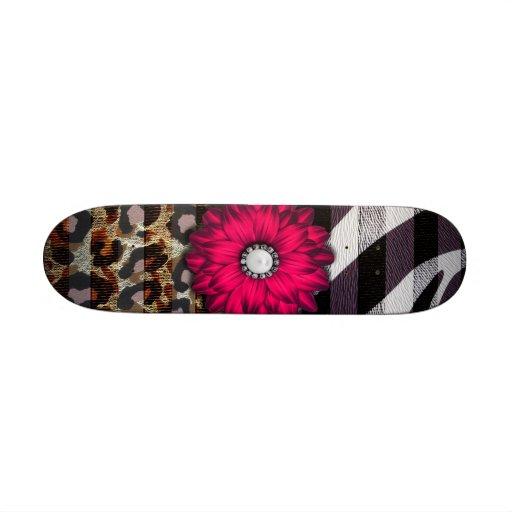 Girly Pink Flower on Cheetah Zebra Print Skate Board Decks