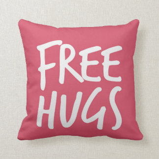 Girly Pink Free Hugs Throw Pillow