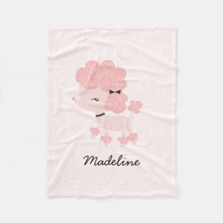 Girly Pink French Poodle Fleece Blanket