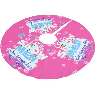 Girly Pink Funny Let It Snow Men Snowmen Tree Skirt